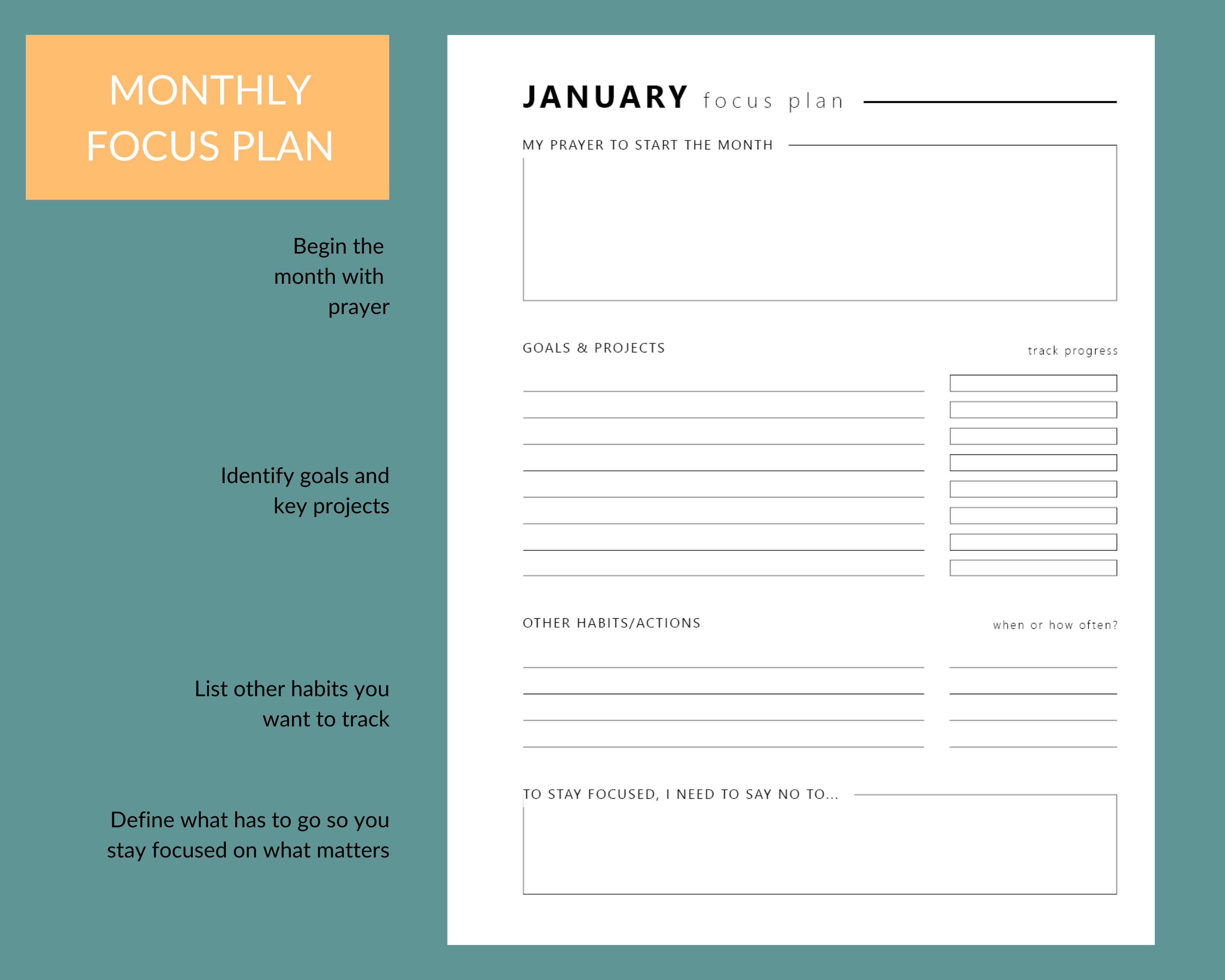 Christian planner monthly goals