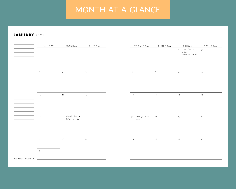 Christian planner monthly calendar