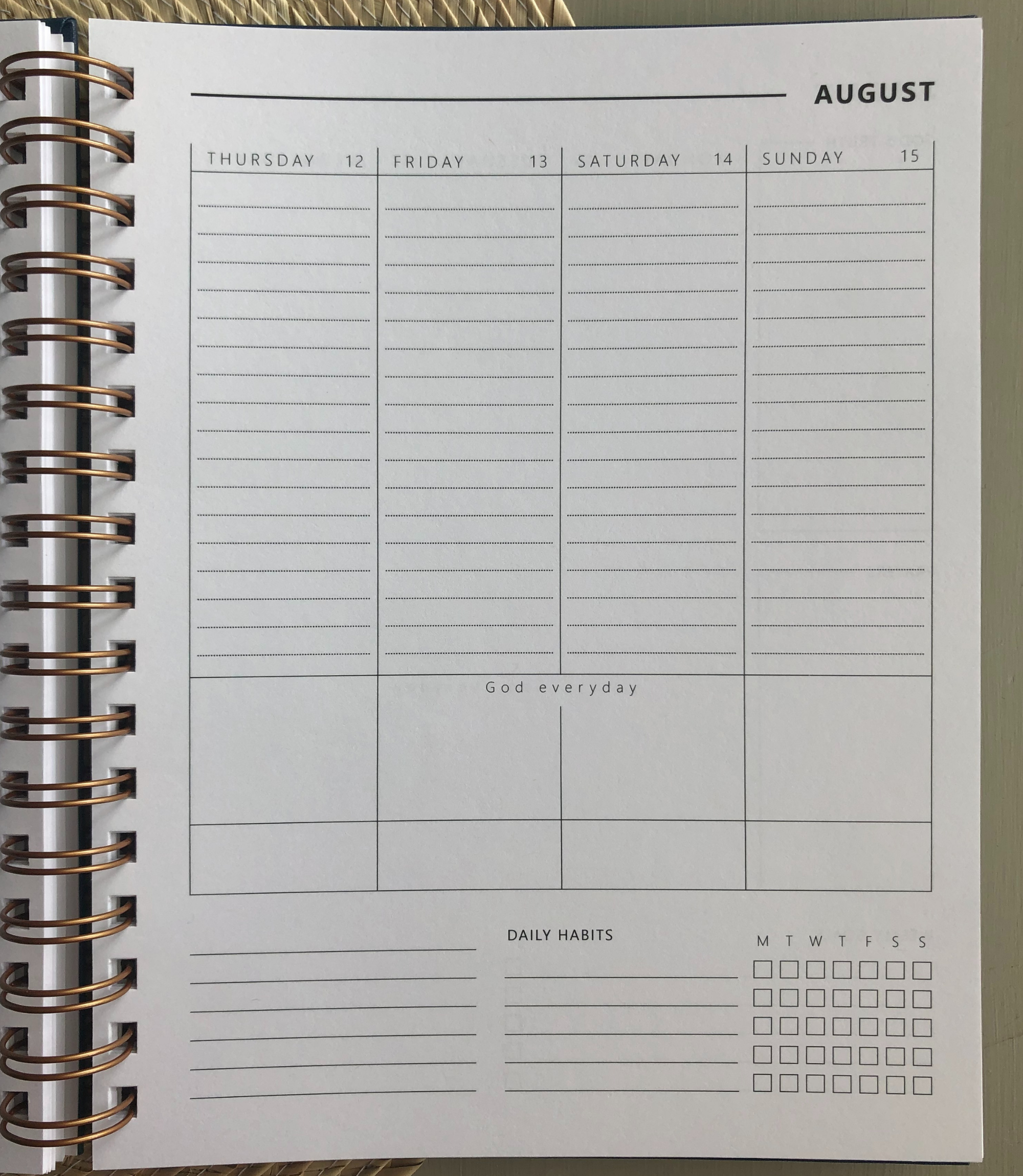 Christain planner weekly planner page