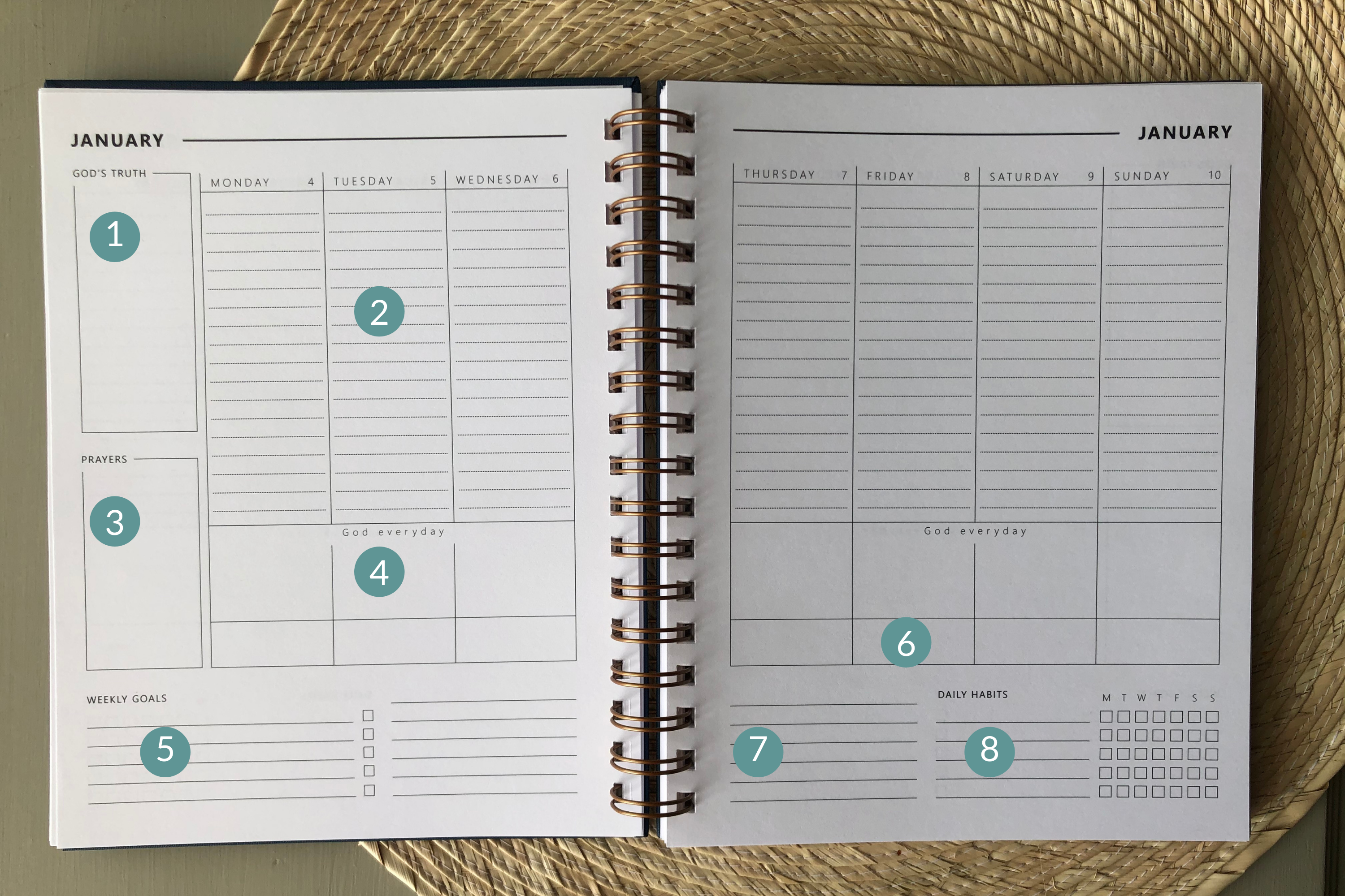 layout of Christian planner weekly calendar